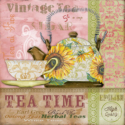 Digital Sunflower Painting - Tea Time-jp2579 by Jean Plout