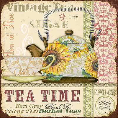 Digital Sunflower Painting - Tea Time-jp2581 by Jean Plout
