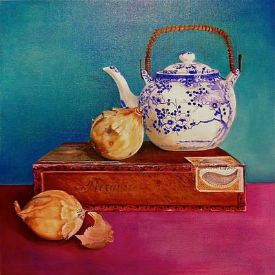 Teapot Painting - Tea Time Tears by Leena Blom-Hilden