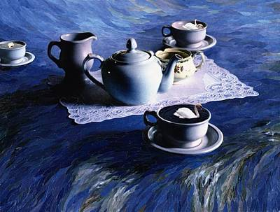 Tea Time With Gordy, 1998 Paper Mosaic Collage Art Print by Ellen Golla