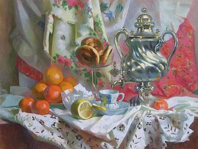 Tea Party Painting - Tea With Bagels by Svetlana Goryacheva
