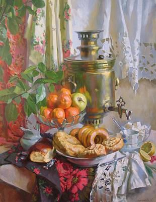 Tangerine Painting - Tea With Caramel by Svetlana Goryacheva