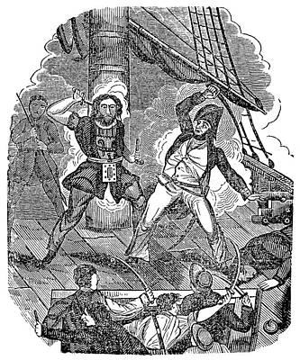 Blackbeard Painting - Teach And Maynard, 1718 by Granger