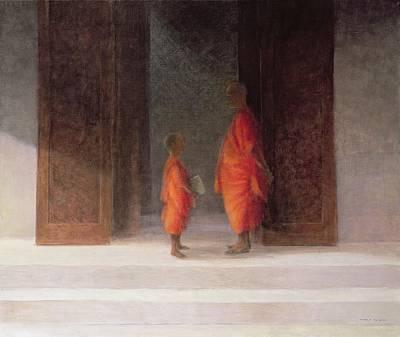 Buddhism Photograph - Teacher, 2005 Acrylic On Canvas by Lincoln Seligman