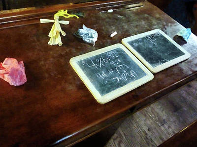 Blackboard Photograph - Teacher - School Slates by Susan Savad