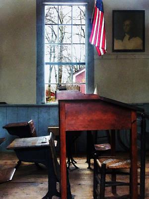 Schoolroom Photograph - Teacher - Schoolmaster's Desk by Susan Savad