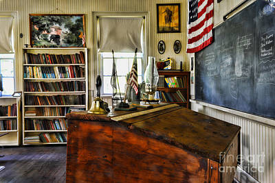 One Room School Houses Photograph - Teacher - Vintage Desk by Paul Ward