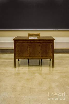 Linoleum Photograph - Teacher's Desk by Margie Hurwich