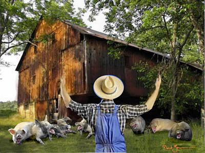 Digital Manipulation Painting - Teaching A Pig To Sing by David Zimmerman