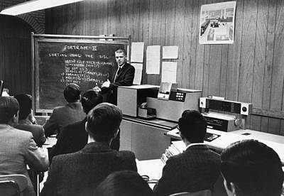 Young Man Photograph - Teaching Computer Programming by Underwood Archives