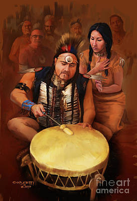 Indians Painting - Teaching The Tribe by Rob Corsetti