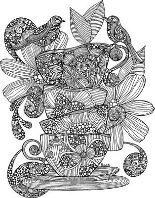 Fun Drawing - Teacups, Birds And Flowers by Valentina Harper