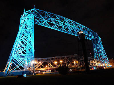 Duluth Photograph - Teal Aerial Lift Bridge by Alison Gimpel