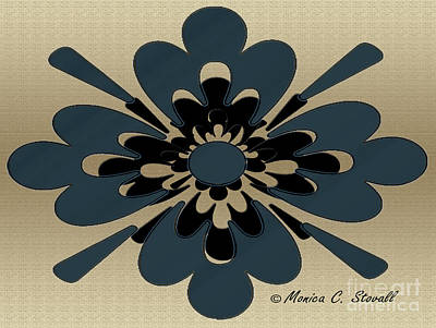 Digital Art - Teal Blue On Gold Floral Design by Monica C Stovall