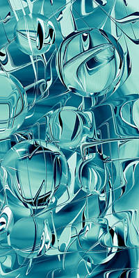 Digital Art - Teal Blue Steel Balls - Smart Phone by rd Erickson