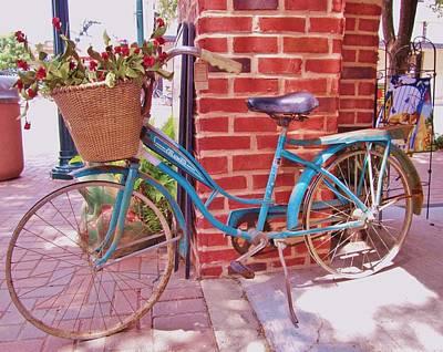 Teal Blue Vintage Bicycle Art Print