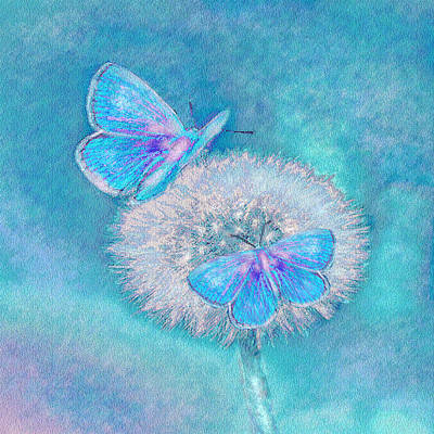 Dandelion Digital Art - Teal Butterflies by Jane Schnetlage