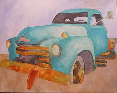 Teal Chevy Art Print by Isaac Alcantar