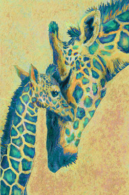 Digital Art - Teal Giraffes by Jane Schnetlage
