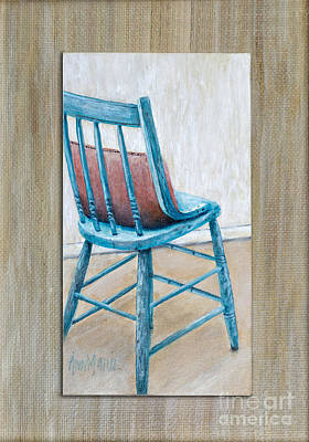 Kitchen Chair Painting - Teal Kitchen Chair By Ann Marie Fitzsimmons by Sheldon Kralstein