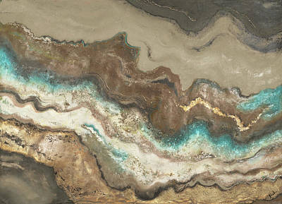 Lava Flow Painting - Teal Lava Flow by Patricia Pinto