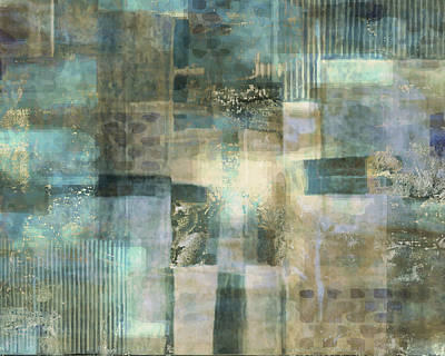 Champagne Painting - Teal Luminous Layers by Lee Ann Asch