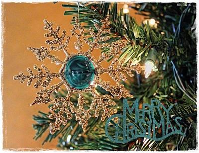 Christmas Photograph - Teal Merry Christmas by Sylvia Thornton