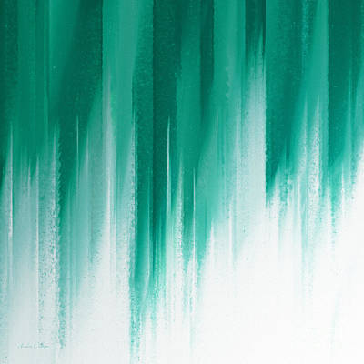 Andee Design White Digital Art - Teal Rain by Andee Design
