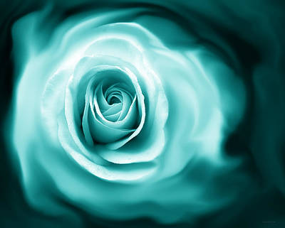 Teal Rose Flower Abstract Art Print by Jennie Marie Schell