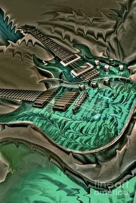 Teal Steel Digital Guitar Art By Steven Langston Art Print by Steven Lebron Langston