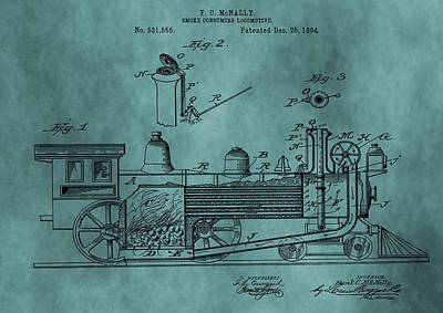 Teal Train Patent Art Print