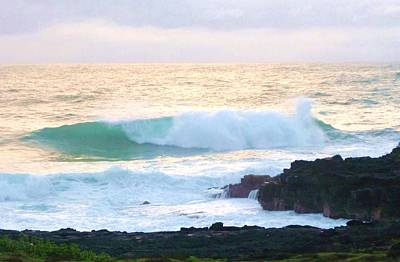 Photograph - Teal Wave On Golden Waters by Stephanie Callsen