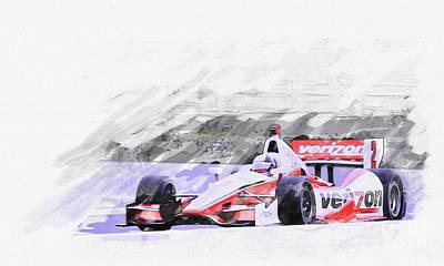 Indy Car Digital Art - Team Penske Dallara Chevrolet Indy Car  by Roger Lighterness