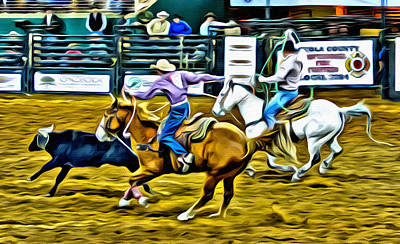 Team Ropers Art Print by Alice Gipson