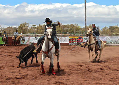 Team Roping Photograph - Team Roping At The Rodeo by Venetia Featherstone-Witty