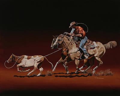 Painting - Team Roping by Hugh Blanding