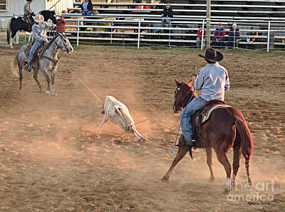 Working Cowboy Photograph - Team Roping by Kris Wolf