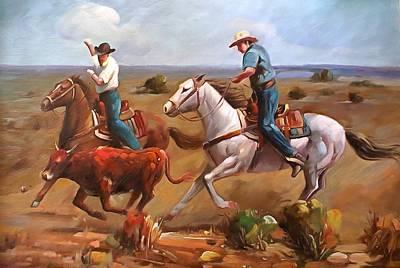 Working Cowboy Painting - Team Roping by Studio Artist