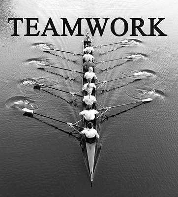 Teamwork Rowing Work A Art Print by David Lee Thompson