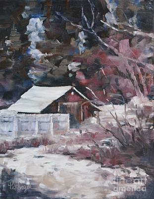 Red Barn In Winter Painting - Teanaway Barn In Winter by Lori Pittenger