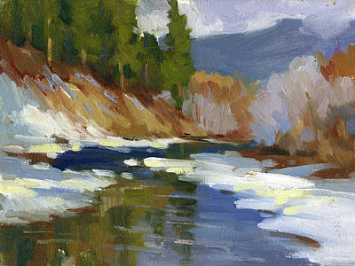 Snow Scene Painting - Teanaway River by Diane McClary
