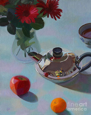 Tangerine Painting - Teapot And Others by Charmaine P Jackson