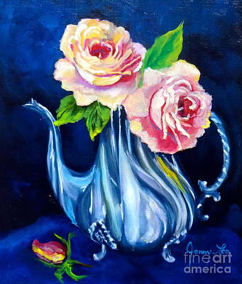 Silver Tea Pot Painting - Teapot And Roses by Jenny Lee