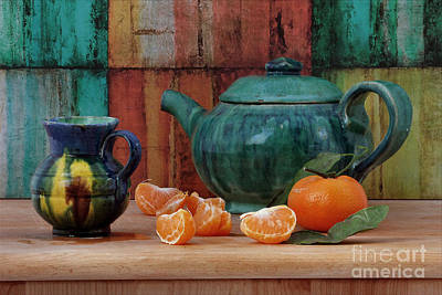 Teapot And Tangerine Print by Luv Photography