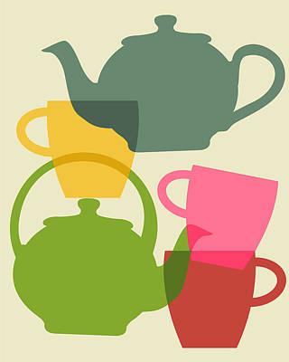 Mother Digital Art - Teapot And Teacups by Ramneek Narang