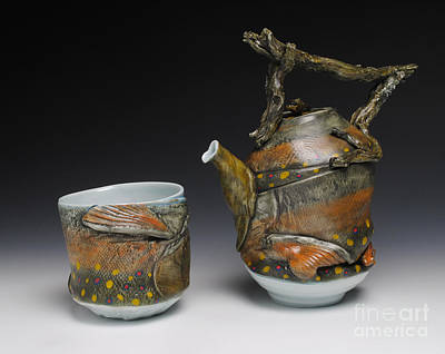 A Fish Out Of Water Sculpture - Teapot And Yunomi by Mark Chuck