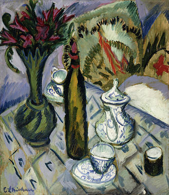 Tea Time Painting - Teapot Bottle And Red Flowers by Ernst Ludwig Kirchner