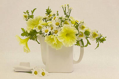 Flower Still Life Photograph - Teapot Of Yellow Petunias And Daisies  by Sandra Foster