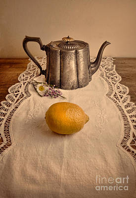 Photograph - Teapot On Lace With Lemon by Jill Battaglia