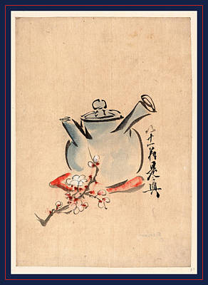 Teapot Painting - Teapot With Cherry Or Plum Blossoms Between 1750 And 1850 1 by Japanese School